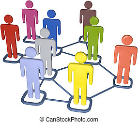 Symbol people connect in nodes of 3D social media network.
