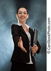 business people - a beautiful business woman enjoying her...