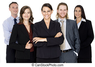 Business People - A group of five young business ...