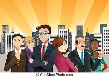 A vector illustration of group of confident business people with city buildings in the background