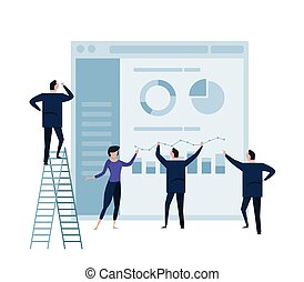 business people analytics graph on monitor and people business team working concept.