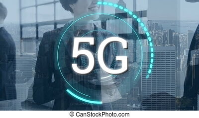 Business people and 5G written in the middle of a futuristic circles