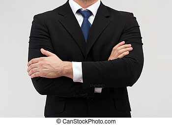 close up of businessman in suit and tie