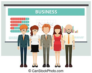 Business people and presentation board