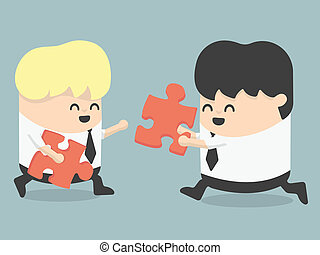 business people and puzzles