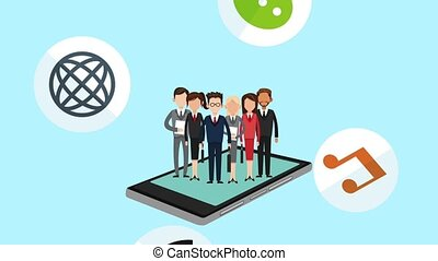Business people and social network HD animation