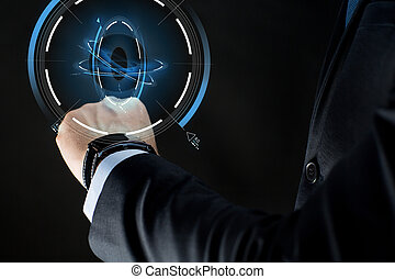close up of businessman hand with smartwatch