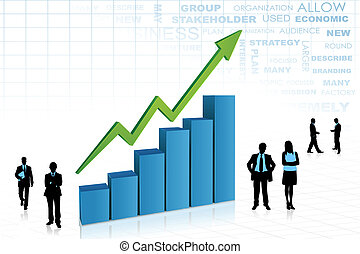 illustration of silhouette of business people standing with bar graph