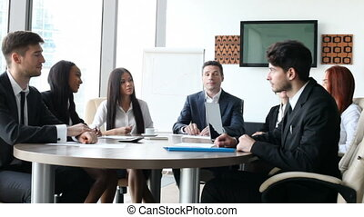 Business people applause at meeting after presentation