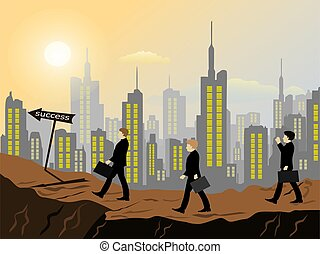 Business people are walking on a steep hill to overcome obstacles to success With buildings in the background