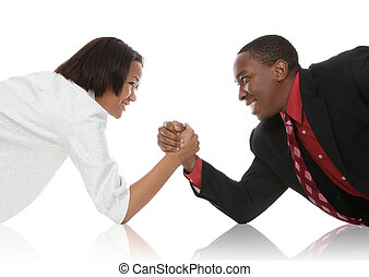 Business People Arm Wrestling - Attractive african american...