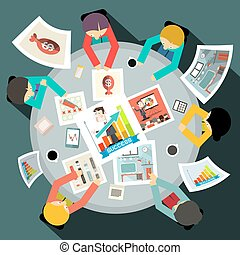 Business People Around Circle Table Top View Vector