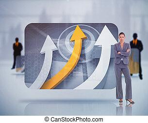 Business people around digital screens