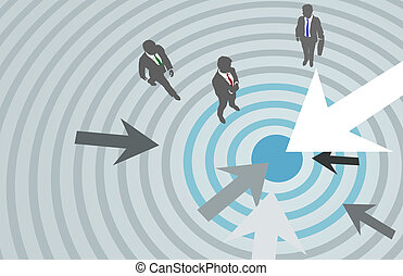 Business people arrows target marketing center