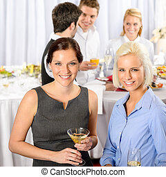 Business people at catering buffet company event