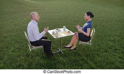 Business people at lunch in countryside landscape -...