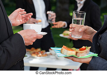 Business people at the lunch buffet - Business people at the...