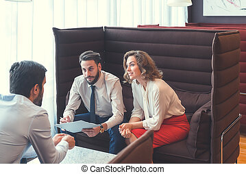 Business people at the meeting