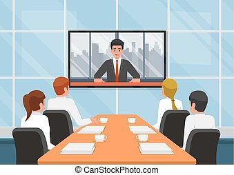 Business people at the video conference call with the team....