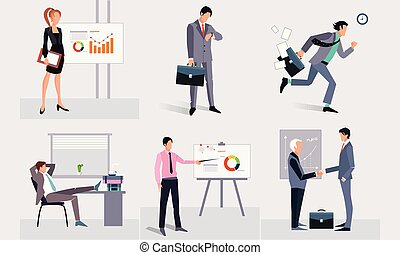 Business people at work, businessmen taking part at business meeting, conference, presentation vector Illustration on a white background