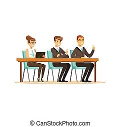 Business people attending and listening at conference, seminar, lecture or training vector Illustration
