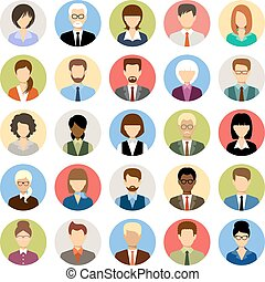 Business people avatars in a circle