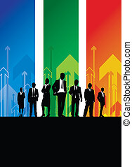 business people background - business people on a arrow...