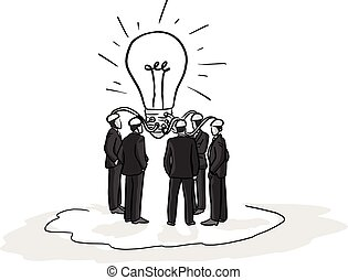 business people brainstorm idea vector illustration sketch hand drawn with black lines isolated on white background