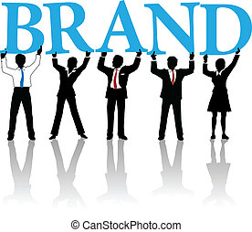 Business people build brand identity word