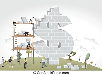 people building a money symbol