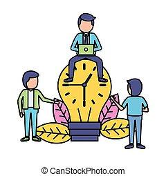 business people bulb clock