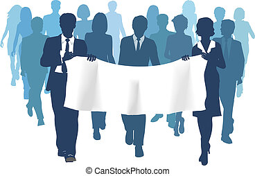 Business people carry banner copy space forward