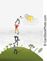 Business people carrying each other to reach a idea light ...