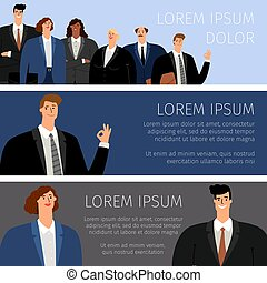 Business people cartoon banners
