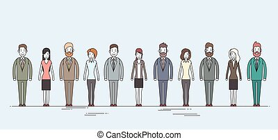 Business People Cartoon Character Set Full Length Man Woman...