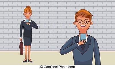 Business people cartoon HD animation