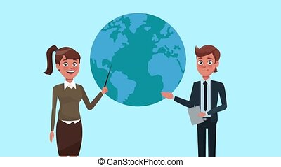 Business people cartoons HD animation