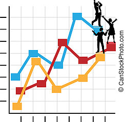 Business People Celebrate Success Standing on Growth Chart -...
