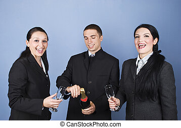 Business people celebrating their success