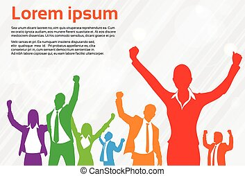 Business People Celebration Colorful Silhouette Hands Up,...