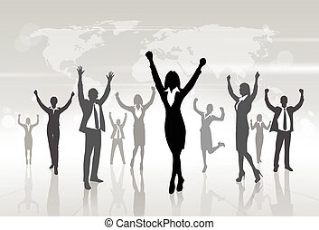 Business People Celebration Silhouette Hands Up, Businesswoman Concept Winner