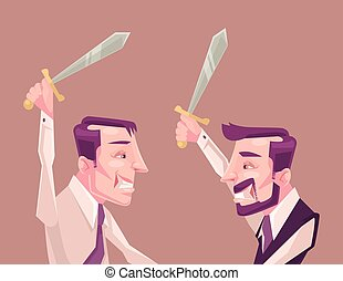Business people characters fighting