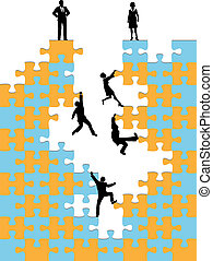Business people climb corporate success puzzle