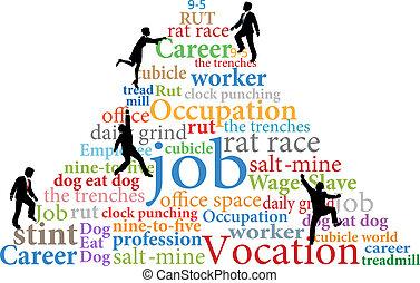 Business people climb job rat race work - Business employees...