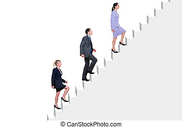 Business people climbing stairs - Three business people...