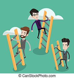 Business people climbing to success.