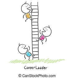 Business people climbing up the corporate ladder. Conceptual...