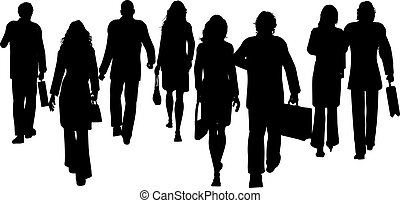 Business people - Silhouettes of business people walking...