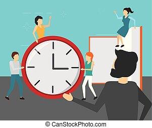 business people clock book