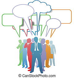 Business people colors communication speech bubble - Group...